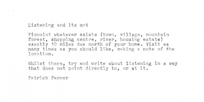 Listening and its not – edited by Patrick Farmer